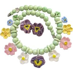 Flying Colors Ceramic Pastel Flowers Necklace and Earring Set.  sold