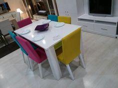 hilton yemek odası berkemobilya rengarenk sandalyeler