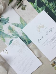 Destination wedding invitations with watercolour palm illustration and gold details. Palm Beach Wedding, Beach Weddings, Perfect Wedding, Dream Wedding, Wedding Day, Destination Wedding Invitations, Wedding Stationery, Floral Watercolor, Watercolour