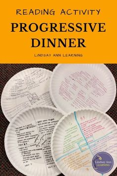"""Are you an English teacher in need of engaging reading activities for your middle school or high school English class? Stage a progressive dinner of knowledge with fiction, nonfiction, and poetry texts or excerpts of your choosing. Students will take notes on paper plates and """"fill their plates"""" with ideas for small group discussion. """"Menus"""" offer reading strategies, discussion questions, and creative writing extension activities. Be sure to click through to check out a preview."""