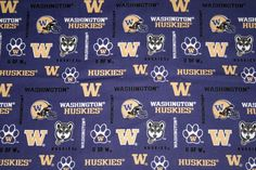 Washington Huskies Fabric College Fabric  1/4 Yard Continuous Piece, College Fabrics, NCAA Fabrics Quilt Fabric 100%Cotton Sykel#WA169 by HandmadebyShelia on Etsy