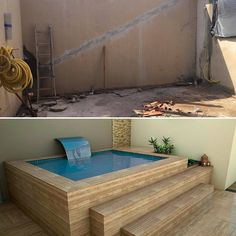Who says you can& have a pool in a small place? Backyard Pool Designs, Small Backyard Pools, Small Pools, Swimming Pools Backyard, Swimming Pool Designs, Backyard Patio, Mini Swimming Pool, Mini Pool, Natural Swimming Pools