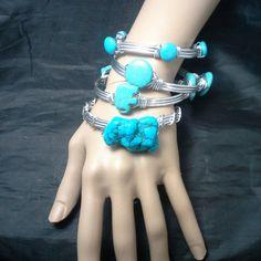 Bangle Bracelet Set Silver Colored Wire by SoftlySisterDesigns