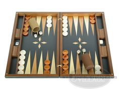 http://www.gammonvillage.com/backgammon-shop/backgammon-sets/backgammon-boards-wood-large-over-300/dal_negro_wood_backgammon_set_macassar_ebony.cfm From Italy, made by renowned design house Dal Negro, this backgammon set is not merely a game – it's a furniture showpiece. The quality and finish of this backgammon set will enhance even the most stately of interiors.