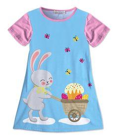 125e6707d6c1 Sunshine Swing | Blue & Pink Bunny Butterfly Shift Dress - Toddler & Girls