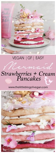 vegan and natural! 😍😍 Strawberry pink ombré flavoured pancakes, naturally coloured pink, with layers of coconut whip, a pink coconut topping and mermaid toppings! Vegan Strawberry Shortcake, Strawberry Pancakes, Coconut Pancakes, Vegan Pancakes, Pancake Day Shrove Tuesday, Breakfast Pictures, Breakfast Ideas, Pancake Toppings, Breakfast Crockpot Recipes