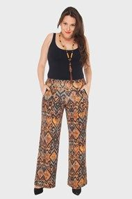 Calça Plus Size Estampada em malha - Conforto + estilo - Flaminga`