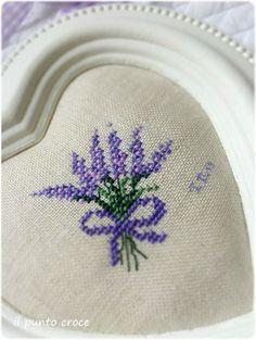 Lavender Heart - Coeur de lavande Part 2 - The Cross Stitch - crochet patterns Tiny Cross Stitch, Cross Stitch Heart, Cross Stitch Flowers, Cross Stitch Designs, Cross Stitch Patterns, Crochet Patterns, Cross Stitching, Cross Stitch Embroidery, Hand Embroidery