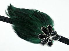 1920s Green Gatsby Headband Silver Black by AdorningBeautyCo