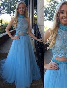 Two Piece Prom Dress,High Collar Prom Dresses,Evening