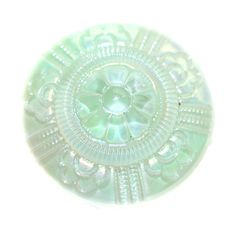 Button - Glass Mint Green with Aurora Finish Moonglow Vintage - Medium by KPHoppe on Etsy