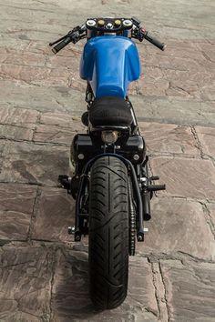 """NU Cafe Racer"" Royal Enfield 500 by Rajputana | built for ""Numero Uno Jeanswear"" | mononshock rear suspension | KTM forks | denim clad seat"