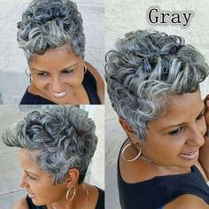 Short Sassy Hair, Short Grey Hair, Short Hair Cuts, Short Ombre, Black Hair, White Hair, Curly Hair Styles, Natural Hair Styles, Pelo Natural