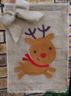 Reindeer Christmas Burlap Garden Flag with by annieslittlehouse, $18.00