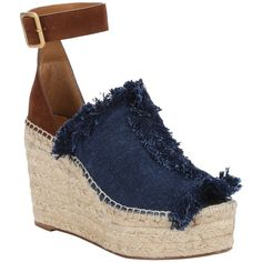 Chloe Blue Denim And Brown Suede 'isa' Espadrille Sandals (391004801) ($525) ❤ liked on Polyvore featuring shoes, sandals, platform espadrilles, blue wedge sandals, wedge espadrilles, wedge sandals and ankle strap sandals