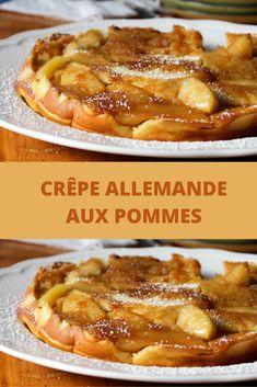 La crêpe allemande s'apparente au flan ou au far breton, dont elle possède le goût d'oeuf et la texture unique. Avec 6 oeufs dans la préparation, on croirait presque un clafoutis! Sauf qu'il n'est pas aux cerises, il est aux pommes. De bonnes pommes fondantes arrosées de jus de citron, de sucre et de cannelle.  La crêpe allemande aux pommes peut également être préparée dans un plat de verre de bonne dimension, mais assurez-vous de beurrer généreusement le moule car ça colle un peu. Far Breton, Quesadilla, Burritos, Crepes, Allrecipes, Tea Time, Biscuits, Pancakes, French Toast