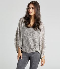 Pull Over Space Dyed Silver Sparkle Sweater with some BLING! Perfect with Leggings or Jeans!