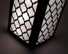 "12"" Geometric Luminary - Black White Wedding Centerpiece Decorations - Paper Lantern"