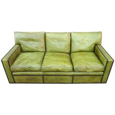 Fabulous 1950's French Leather Sofa After Jean Michel Frank | From a unique collection of antique and modern sofas at http://www.1stdibs.com/furniture/seating/sofas/