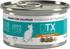 Green Fish Cat DTX Sensible Tonno con Sardine Lattina 80gr Dettagli Prodotto Alimento Monoproteico completo umido per gatti,il tonno rappresenta l'unica fonte proteica (100%) presente nel prodotto,alimento disintossicante e depurativo .