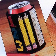 Beverage Can Covers - Cardinal House teacher design soda pop can koozies *pattern* #teacherappreciation #backtoschool #teachersgift #sodapop #plasticcanvaspatterns #cankoozies