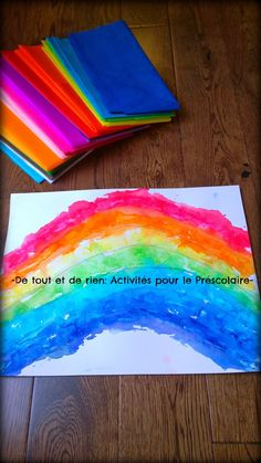 Tearing paper is an excellent exercise for fine motor skills. You can encourage your young child to tear the paper for collage (and pain. Art Plastique, Fine Motor Skills, Art For Kids, Outdoor Blanket, Collage, Rainbow, Painting, Preschool Crafts, Arts