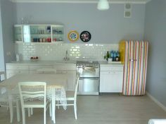 white plus stripes Stripes, Decorating, Interior Design, Kitchen, Table, Diy, Furniture, Color, Home Decor