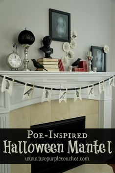 """Scare up your Halloween decor with a spooky mantel inspired by Edgar Allan Poe's """"The Raven"""". via www.twopurplecouches.com"""