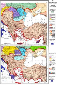 Ottoman Empire prior to and after the Treaty of Karlowitz, 1699. It marked the end of Ottoman control in much of Central Europe.