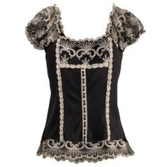 $79.95 - Black Embroidered Top - Small or Medium