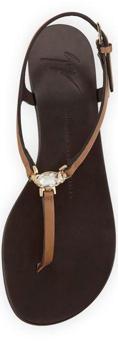 Giuseppe Zanotti Crystal Flat Thong Sandal in Beige/Brown