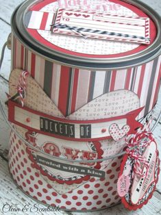 Valentines Day paint can - such a cute idea for packaging up gifts!  Could also be used to hold love notes.