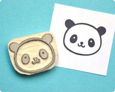 Cute panda hand carved rubber stamp. Rubber by MemiTheRainbow