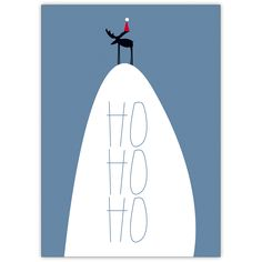 Ho Ho Ho fröhliche Weihnachtskarte mit Santa Elch auf Berg