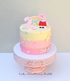 Lily's Peppa Pig cake – Typical Miracle 2nd Birthday Cake Girl, Peppa Pig Birthday Cake, Bithday Cake, Tortas Peppa Pig, Bolo Da Peppa Pig, Peppa Pig Cakes, Peppa Pig Birthday Decorations, Pig Cupcakes, Artist Cake