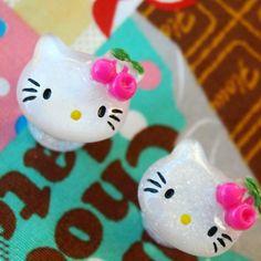 4g 5mm Cherry Kitty Plugs gauge studs streched lobes Cute Chic Acrylic piercing body art fun fashion kawaii
