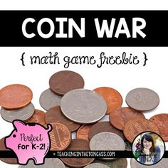 Coin War Money Activities Free Perfect for Distance Learning Money Games For Kids, Money Activities, Math For Kids, Math Resources, Autism Activities, Preschool Learning, 1st Grade Math, Grade 2, Family Math Night