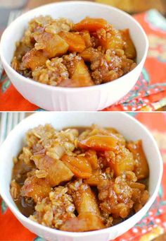 Slow Cooker Caramel Apple Crumble - apple, caramel, cinnamon, dessert, recipes, vanilla