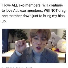This literally explains how I feel about EXO and BTS.I have biases in both those groups but I don't really like picking favorites so when people ask who I like in those groups, I say all of them :) Exo Ot12, Kaisoo, Kyungsoo, Chanyeol, 5 Years With Exo, Exo Facts, Fandom Kpop, Exo Group, Kim Minseok
