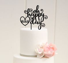 Wedding Cake Topper  Oh Happy Day Wedding by ThePinkOwlDesigns