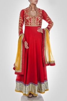 Z Fashion Trend: RED EMBROIDERED ANARKALI FROCK WITH CONTRAST MATCH...