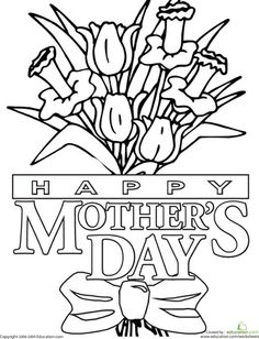 Worksheets: Color the Mother's Day Message