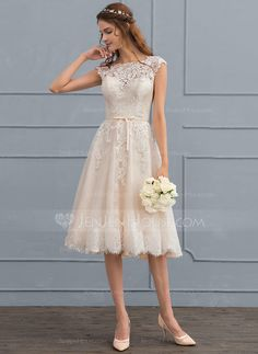 [US$ 166.69] A-Line/Princess Scoop Neck Knee-Length Tulle Lace Wedding Dress With Bow(s)