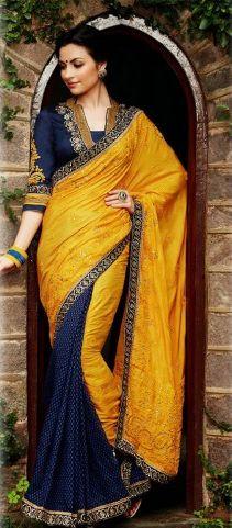 67a187deac89c Yellow and Royal Blue Kimora Lehenga Saree with Silk