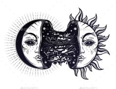 Moon crescent turning into black sun full of slime goo. Decadence eclipse. Creepy sci-fi, tattoo art. Isolated vector illustration