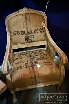 Vintage chair reupholstered in coffee sack by Evergreen Design at Adjectives Market