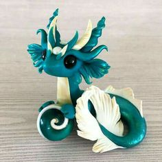 Teal and Gold Mer-dragon Sculpture by Dragons and Beasties Polymer Clay Dragon, Cute Polymer Clay, Cute Clay, Polymer Clay Projects, Polymer Clay Creations, Let's Make Art, 3d Figures, Cute Dragons, Clay Figurine