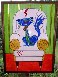 Blue Cat Pink Chair Glass Mosaic Artwork door StayCsStainedGlass #stainedglass #glassart