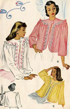 e3dd5fb94fbf9 Items similar to Vintage 40s McCall 1335 Embroidered Bed Jacket Lingerie  Sewing Pattern Size Medium on Etsy