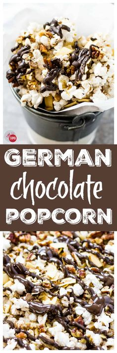 the flavors of a great cake in a snack popcorn! My German Chocolate Popcorn will blow your mind! for a healthier snack mix! Popcorn Snacks, Flavored Popcorn, Gourmet Popcorn, Popcorn Recipes, Snack Recipes, Dessert Recipes, Popcorn Balls, Popcorn Mix, Popcorn Kernels